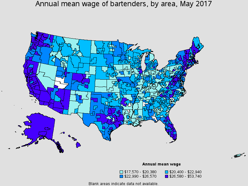 How much bartenders make by area